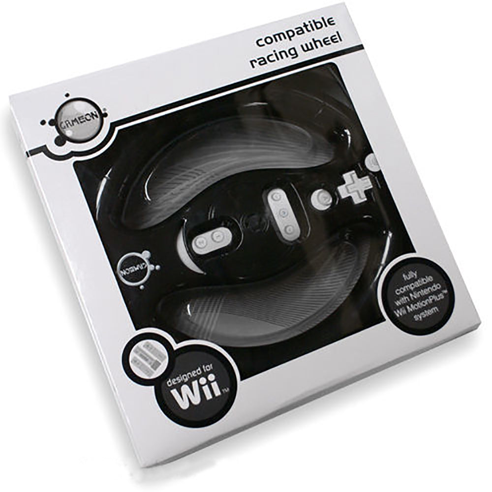 GameOn Nintendo Wii MotionPlus Fully Compatible Racing Wheel - Black - WII-WHEEL