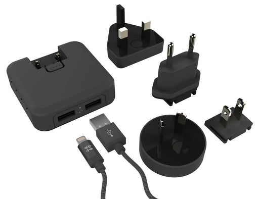 XtremeMac International Dual USB Power Adapter With MFI Certified Lightning Cable - Black - XM-IPU-IHL2-13
