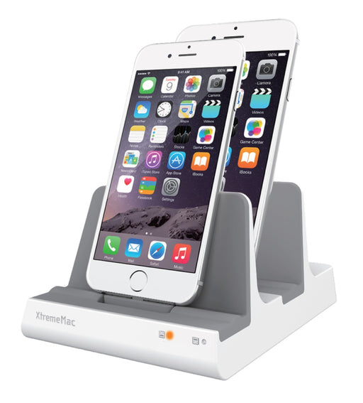 XtremeMac Dual Lightning Desktop Docking Station For Apple Devices - White - XM-IPU-IX2L-13U