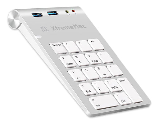XtremeMac Numerical Aluminium Keypad With USB 3.0 Hub + Audio Ports - XM-NPHUB32-AU-SLV