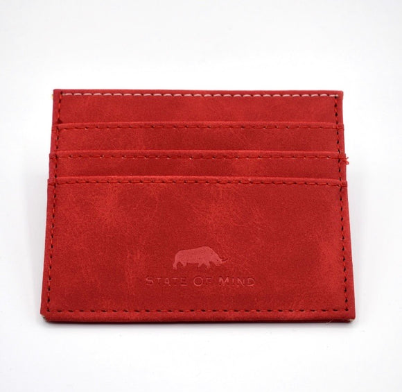Vegan Leather Wallet- Red