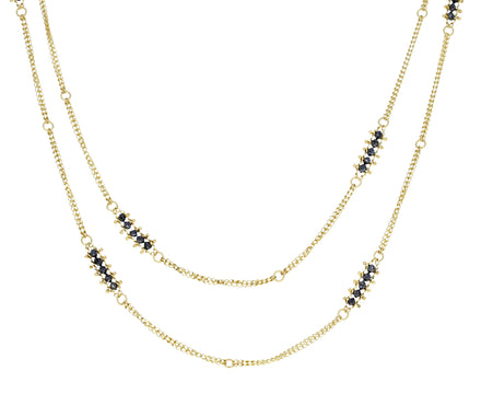 Long Black Diamond Textile Station Necklace