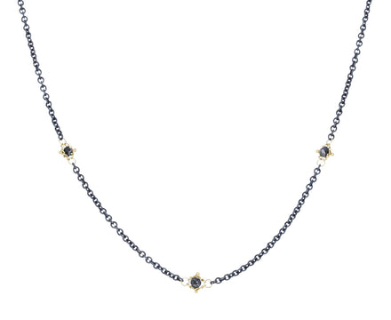 Black Diamond Textile Station Necklace
