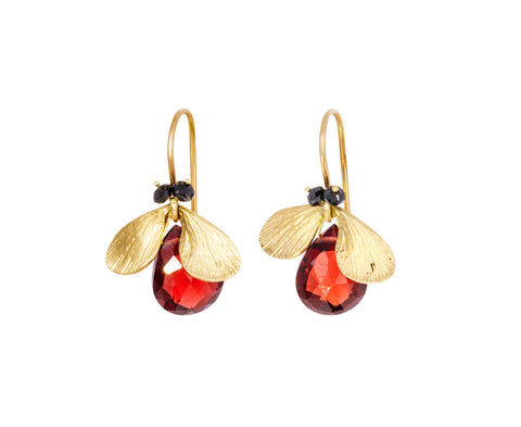 Garnet Jeweled Bug Earrings