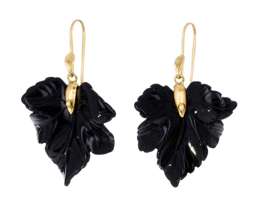 Onyx Fancy Leaf Earrings