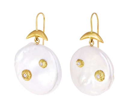 Pearl and Diamond Luna Earrings
