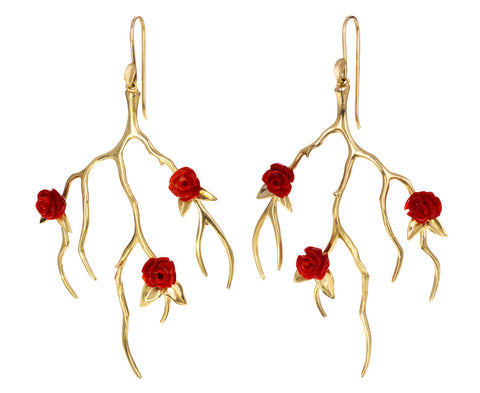 Gold and Coral Rose Garden Earrings