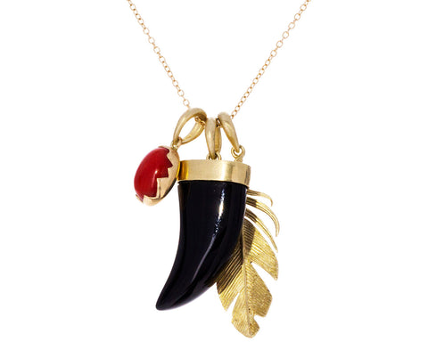 Coral and Onyx Scavenger Hunt Necklace - TWISTonline