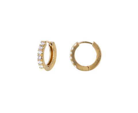 Large Diamond Huggie Hoop Earrings