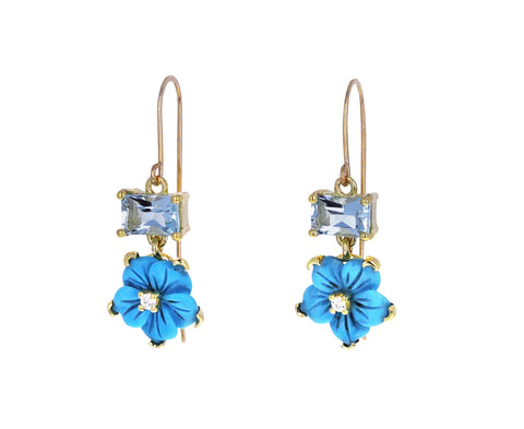 Turquoise Flower and Aquamarine Earrings