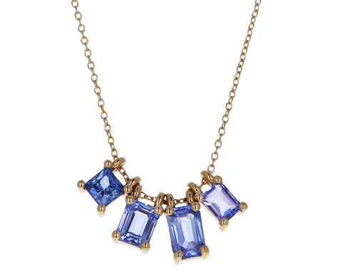 Mixed Cornflower Blue Sapphire Story Necklace
