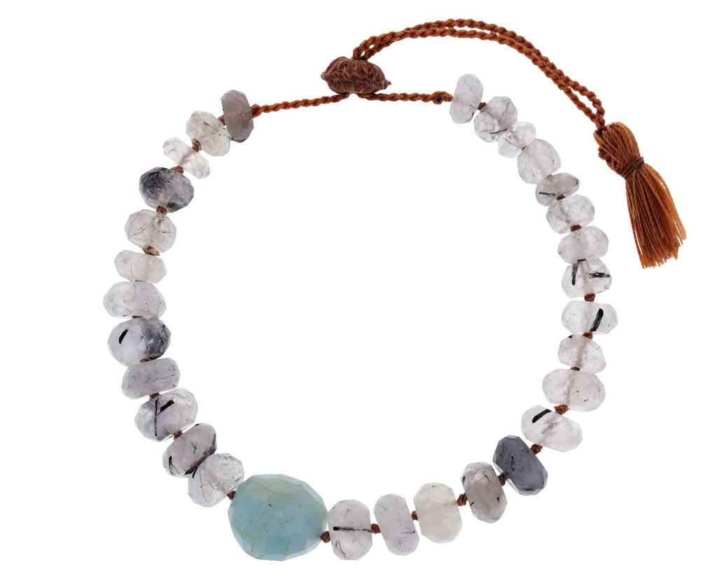 Rutilated Quartz and Aquamarine Beaded Bracelet