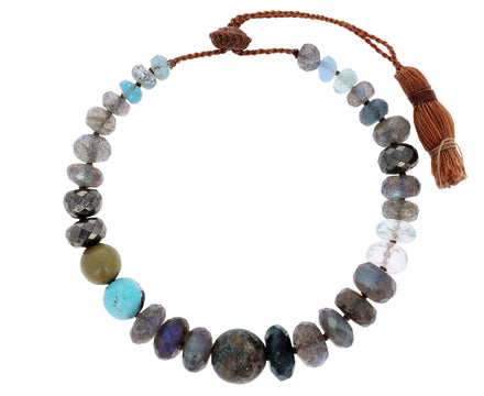 Labradorite, Turquoise and Quartz Beaded Bracelet