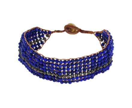 Lapis and Pyrite Beaded Bracelet