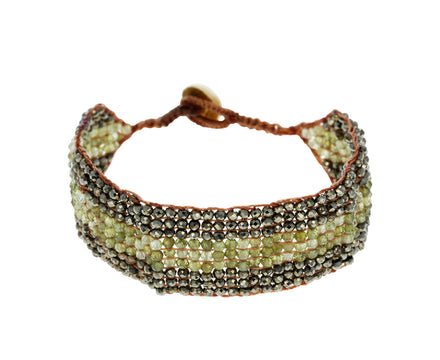 Pyrite and Green Garnet Bracelet