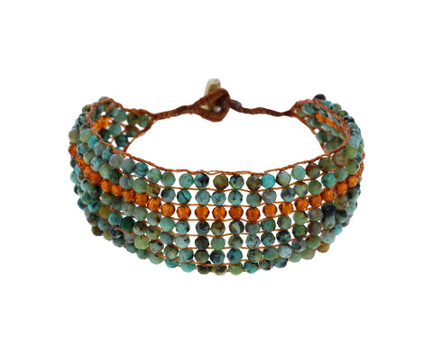 Turquoise and Hessonite Garnet Bracelet