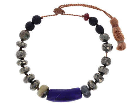 Pyrite and Lapis Beaded Bracelet