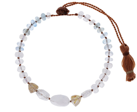 Moonstone and Aquamarine Beaded Bracelet