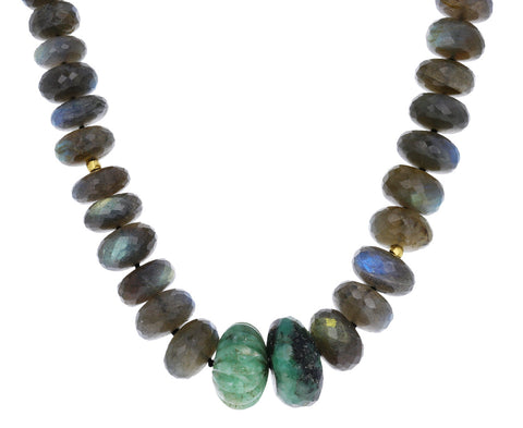 Labradorite and Chrysoprase Beaded Necklace