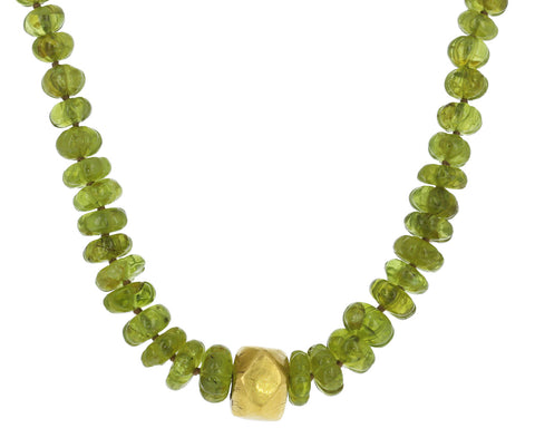 Green Garnet and Gold Nugget Necklace
