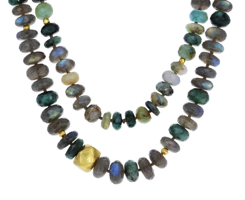 Long Multi Gem and Gold Beaded Necklace