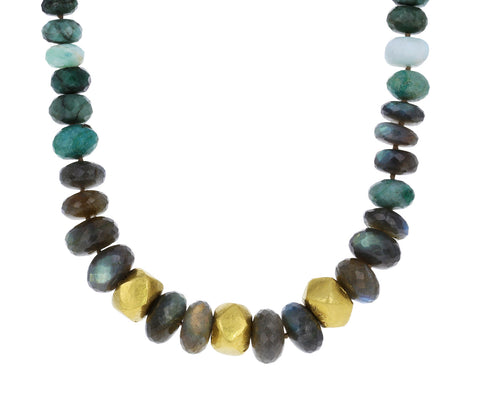 Labradorite, Chrysocolla and Gold Beaded Necklace