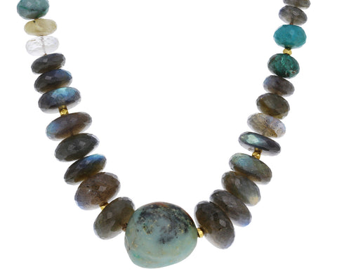Natural Chrysoprase and Labradorite Beaded Necklace