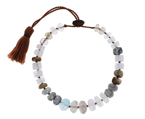 Moonstone, Silverite and Quartz Beaded Bracelet