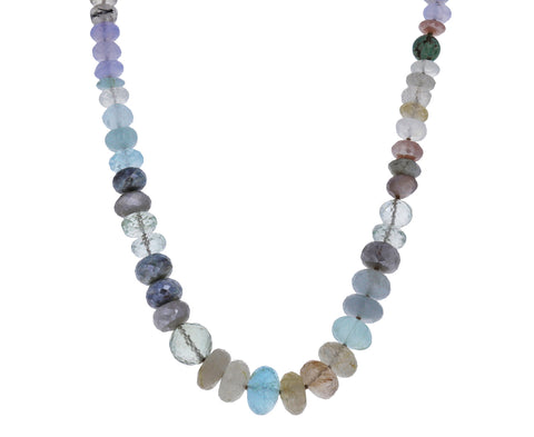 Multi Gem Beach Pebble Necklace