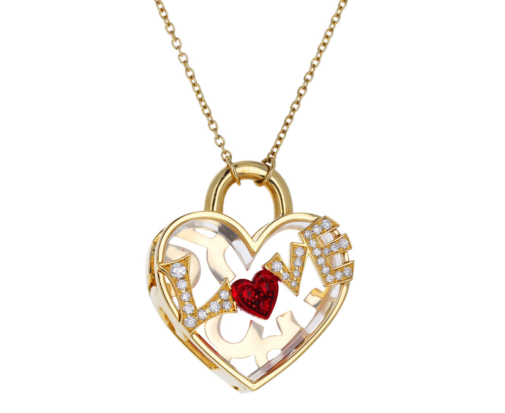 Quartz, Diamond and Ruby Love Locket