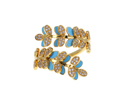 Diamond and Turquoise Enamel Victory Dance Ring