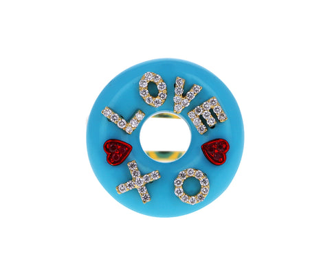 Turquoise Enamel Diamond Love XO Ring