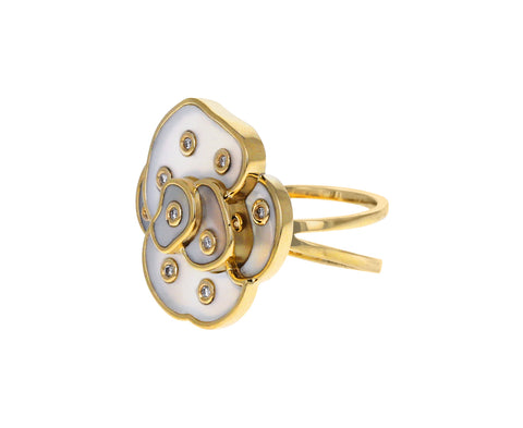 Mother-of-Pearl and Diamond Wild Rose Ring