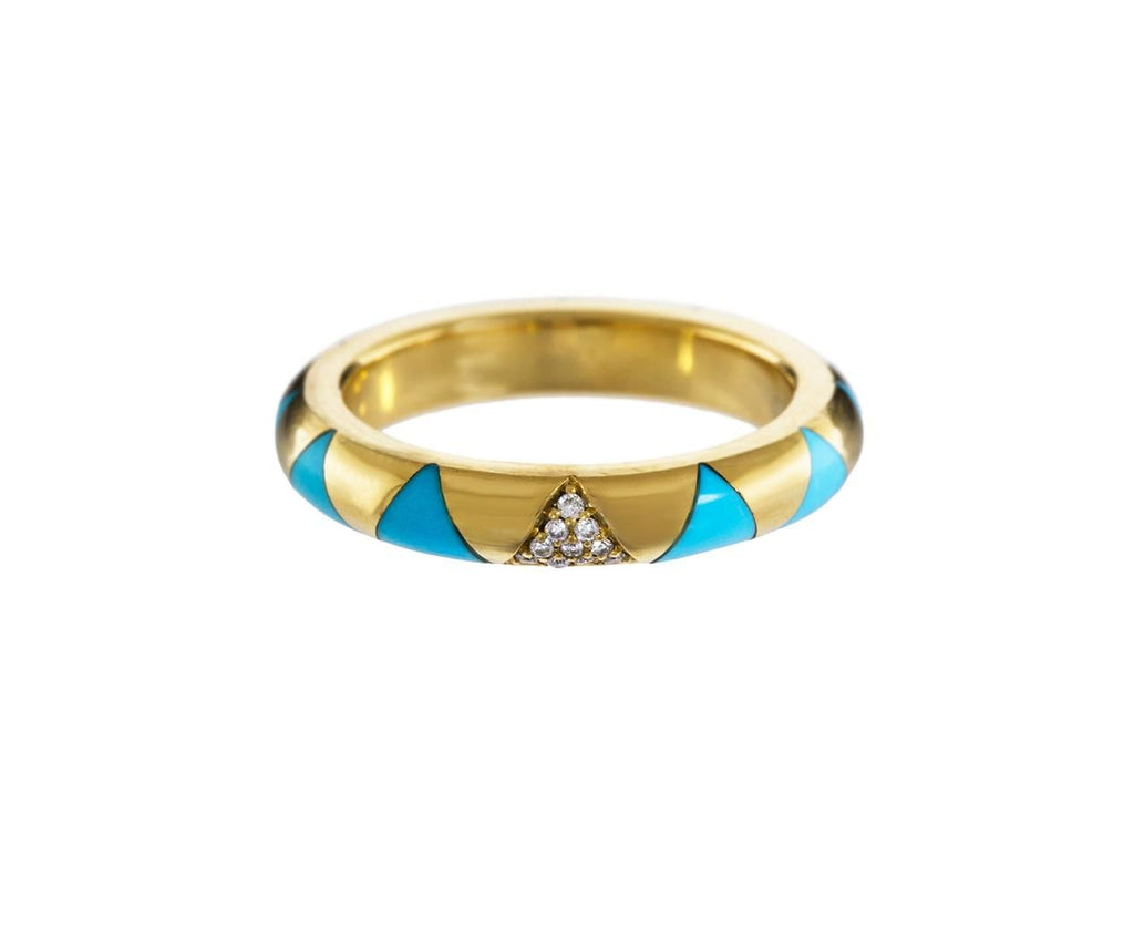 Turquoise Inlay and Diamond Arte Ring zoom 1_marc_alary_gold_diamond_turquoise_triangle_arte_