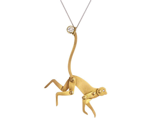 Gold and Diamond Monkey Pendant ONLY - TWISTonline