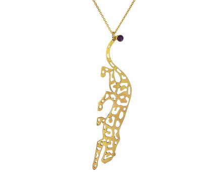 Yellow Gold Panther Pendant Necklace with Amethyst - TWISTonline