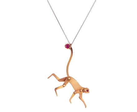 Rose Gold Mini Monkey Pendant with Rubies - TWISTonline