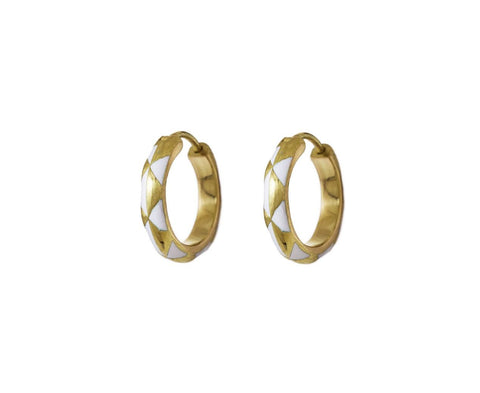 White Enamel Arlequin Hoop Earrings - TWISTonline
