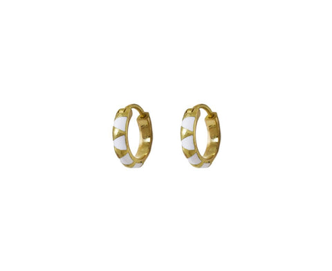 White Enamel Arte Hoop Earrings - TWISTonline