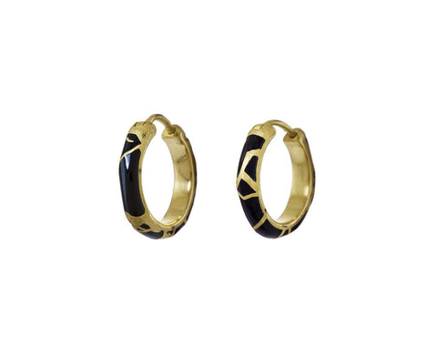 Black Enamel Hera Hoop Earrings - TWISTonline
