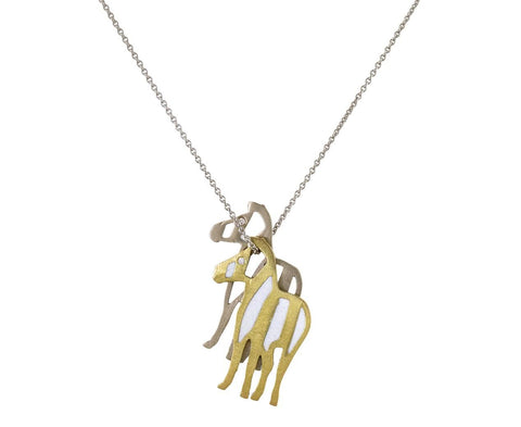 Gold Zebra Duo Pendant Necklace zoom 1_marc_alary_mixed_gold_enamel_two_zebra_necklace