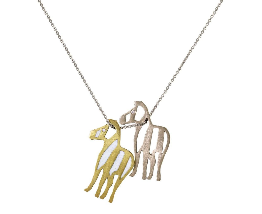 Gold Zebra Duo Pendant Necklace zoom 2_marc_alary_mixed_gold_enamel_two_zebra_necklace