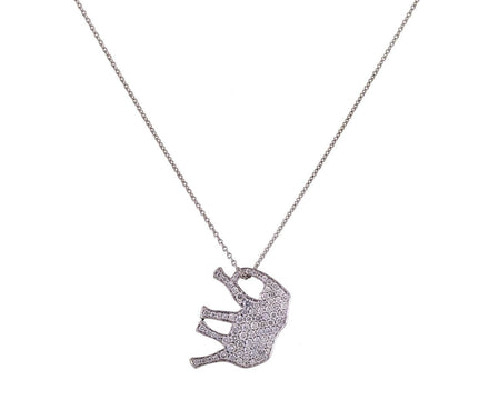 White Diamond Pavé Elephant Pendant Necklace - TWISTonline
