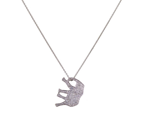 White Diamond Pavé Elephant Pendant Necklace zoom 1_marc_alary_designer_pave_diamond_elephant_pendan