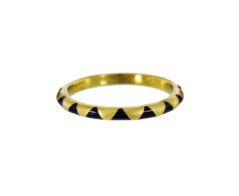 Gold and Black Enamel Triangle Ring - TWISTonline