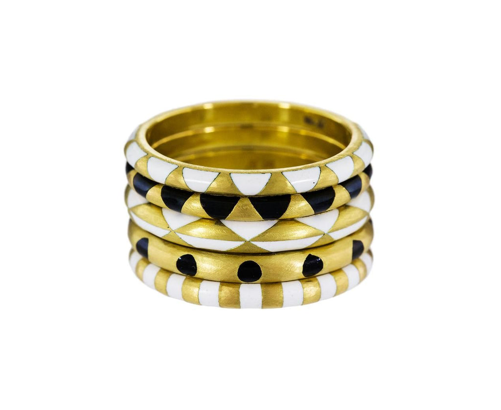 Gold and Black Enamel Triangle Ring zoom 2_marc_alary_gold_enamel_stripe_ring