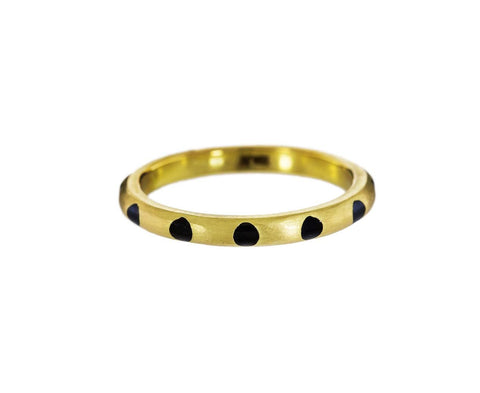 Gold and Black Enamel Polka Dot Ring - TWISTonline