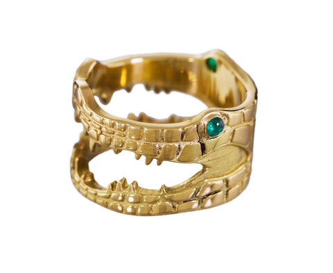 Yellow Gold Crocodile Ring with Emeralds - TWISTonline