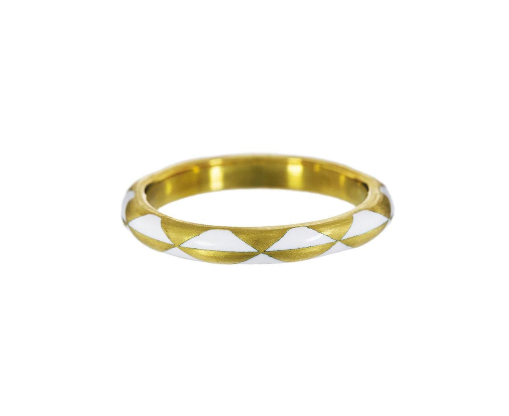 Gold and White Enamel Harlequin Ring zoom 1_marc_alary_gold_enamel_arlequin_ring
