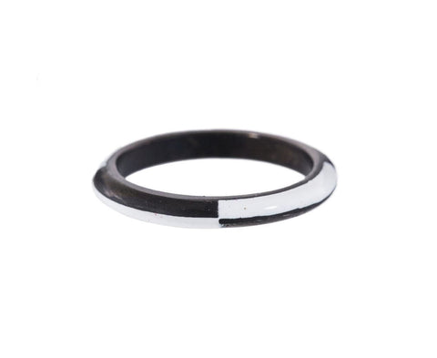 White Enamel and Oxidized Palladium Ring zoom 1_marc_alary_oxidized_palladium_enamel_ring